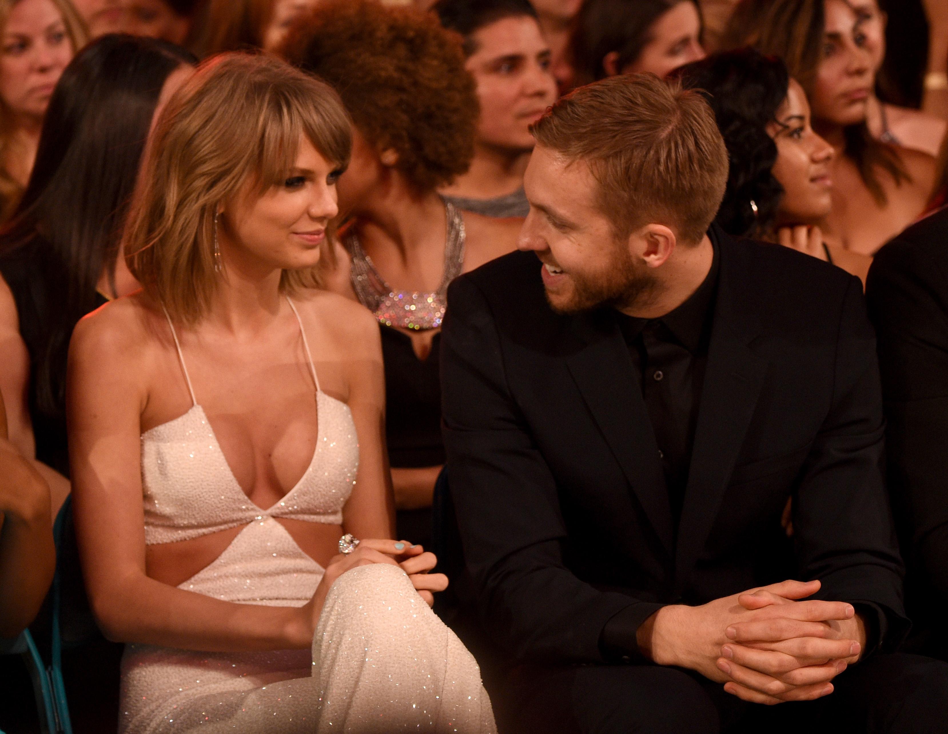 LAS VEGAS, NV - MAY 17:  Recording artists Taylor Swift (L) and Calvin Harris attend the 2015 Billboard Music Awards at MGM G