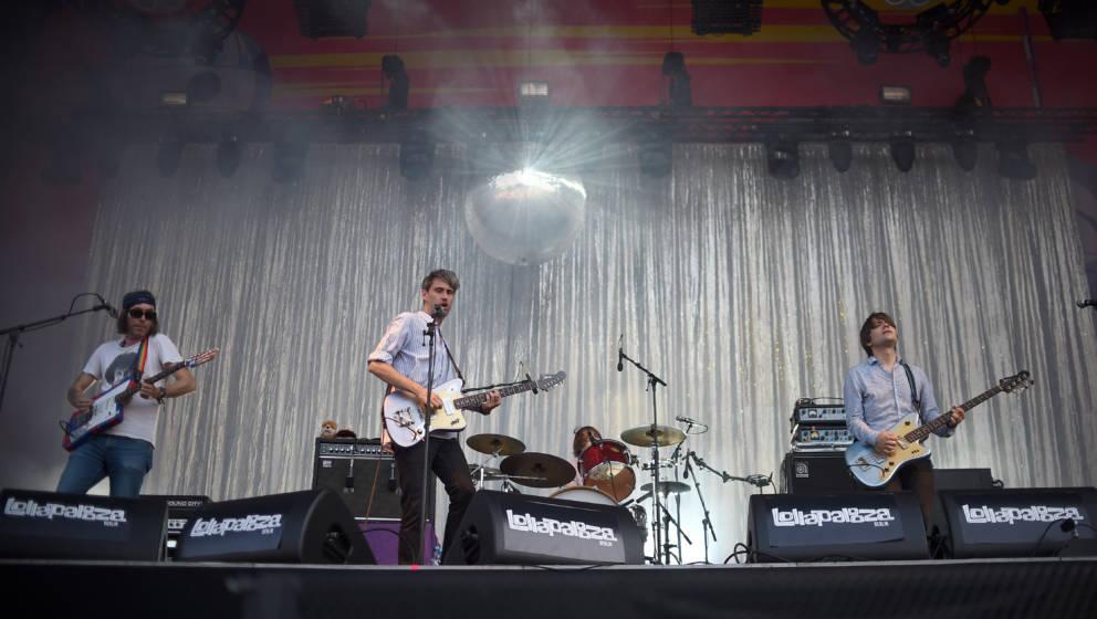 Die deutsche Band Tocotronic spielt am 10.09.2016 auf dem Musikfestival Lollapalooza in Berlin. Foto: Britta Pedersen/dpa +++
