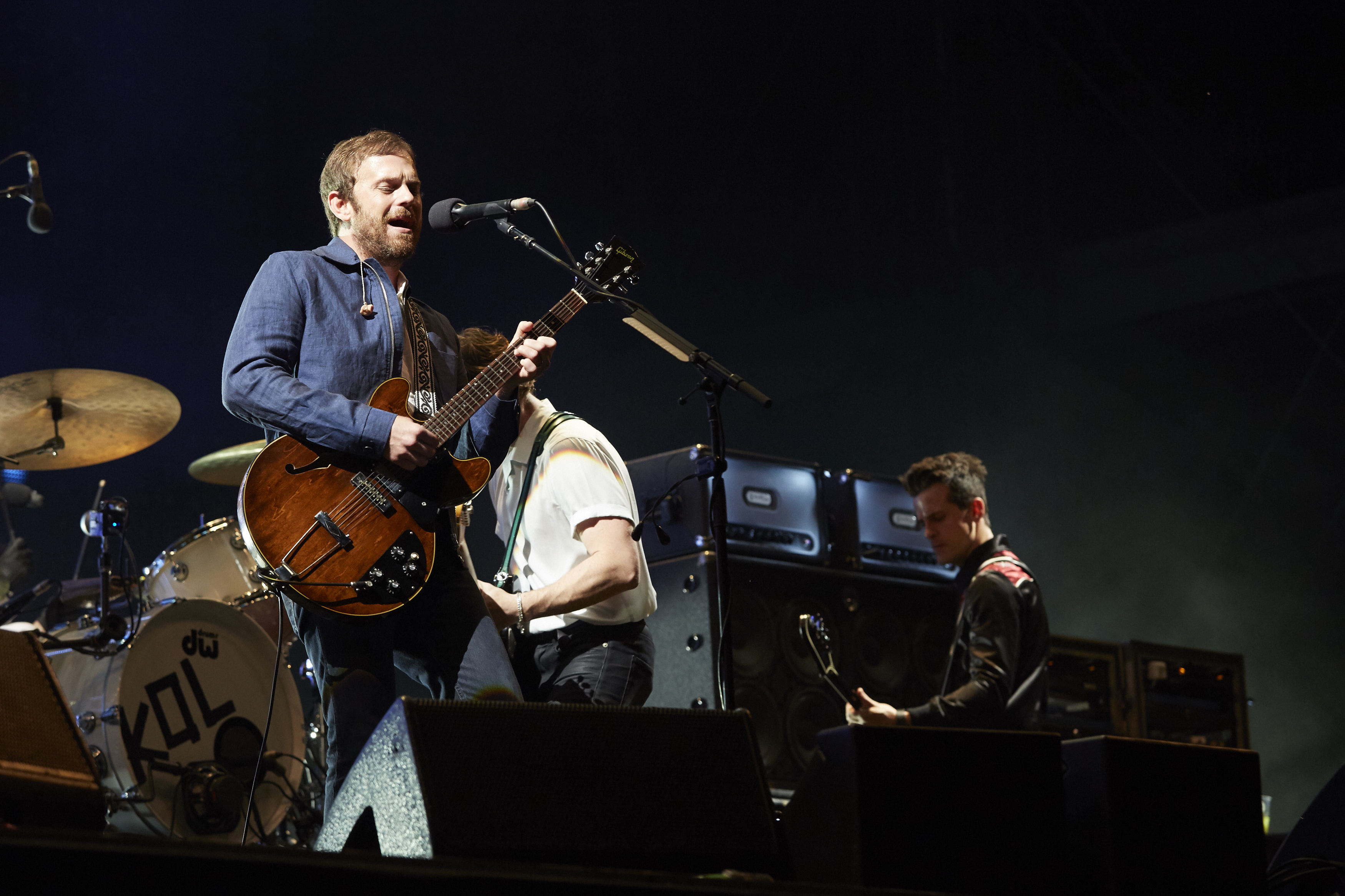 BERLIN, GERMANY - SEPTEMBER 10: (L-R) Caleb Followill, Matthew Followill and Jared Followill of Kings of Leon perform live on