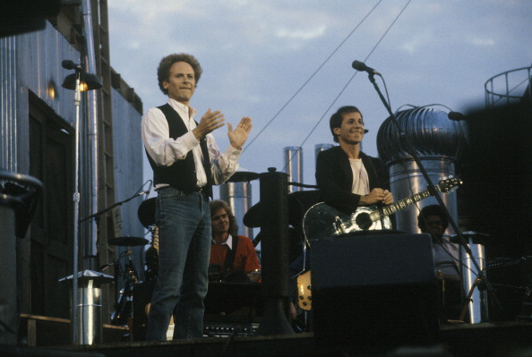 NEW YORK - SEPTEMBER 19: Singer Songwriters Paul Simon and Art Garfunkel performing in Central Park in New York City on Septe
