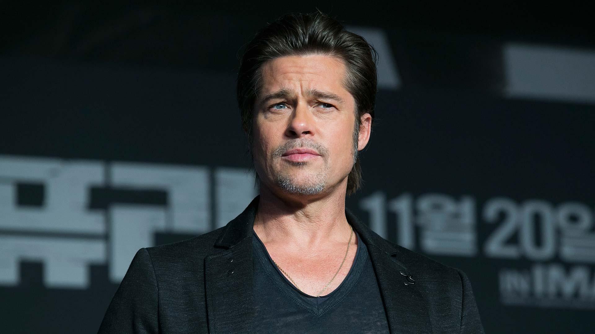 """Erfreut sich bester Gesundheit: Brad Pitt (hier 2014 bei der Pressekonferenz seines Films """"Fury"""" in Seoul)"""