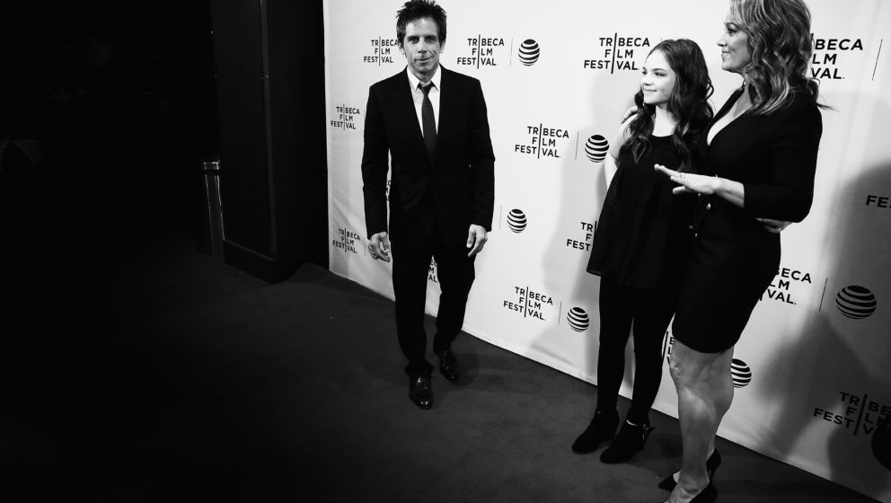 NEW YORK, NY - APRIL 15: ( EDITORS NOTE; image has been converted to black and white)  Ben Stiller, Christine Taylor and Ella
