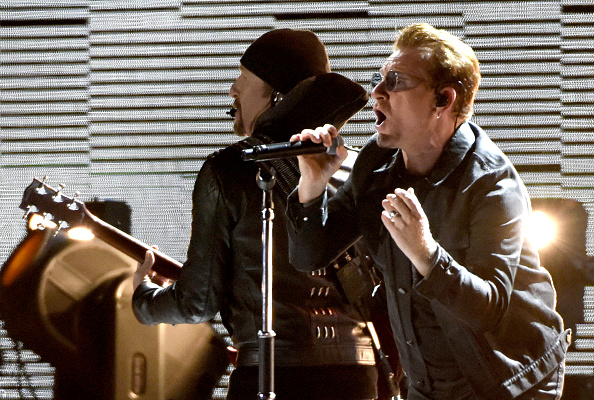 SAN FRANCISCO, CA - OCTOBER 05:  The Edge (L) and Bono of U2 perform during the UCSF Benioff Children's Hospital benefit conc
