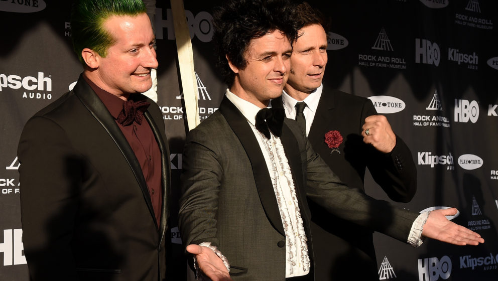 CLEVELAND, OH - APRIL 18:  (L-R) Musicians Tre Cool, Billie Joe Armstrong and Mike Dirnt of Green Day attend the 30th Annual