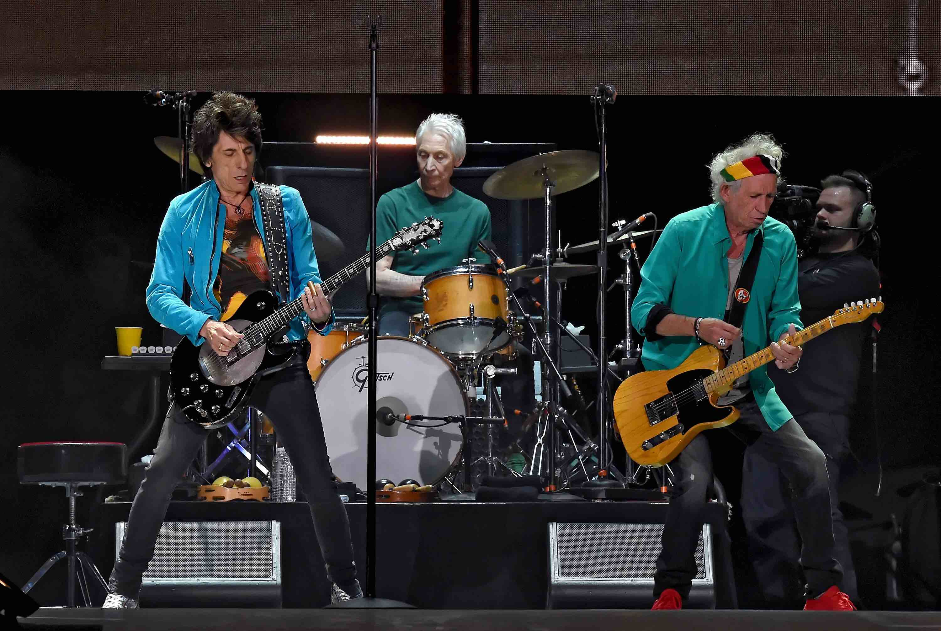 INDIO, CA - OCTOBER 07:  Musicians Ronnie Wood, Charlie Watts and Keith Richards of The Rolling Stones perform onstage during