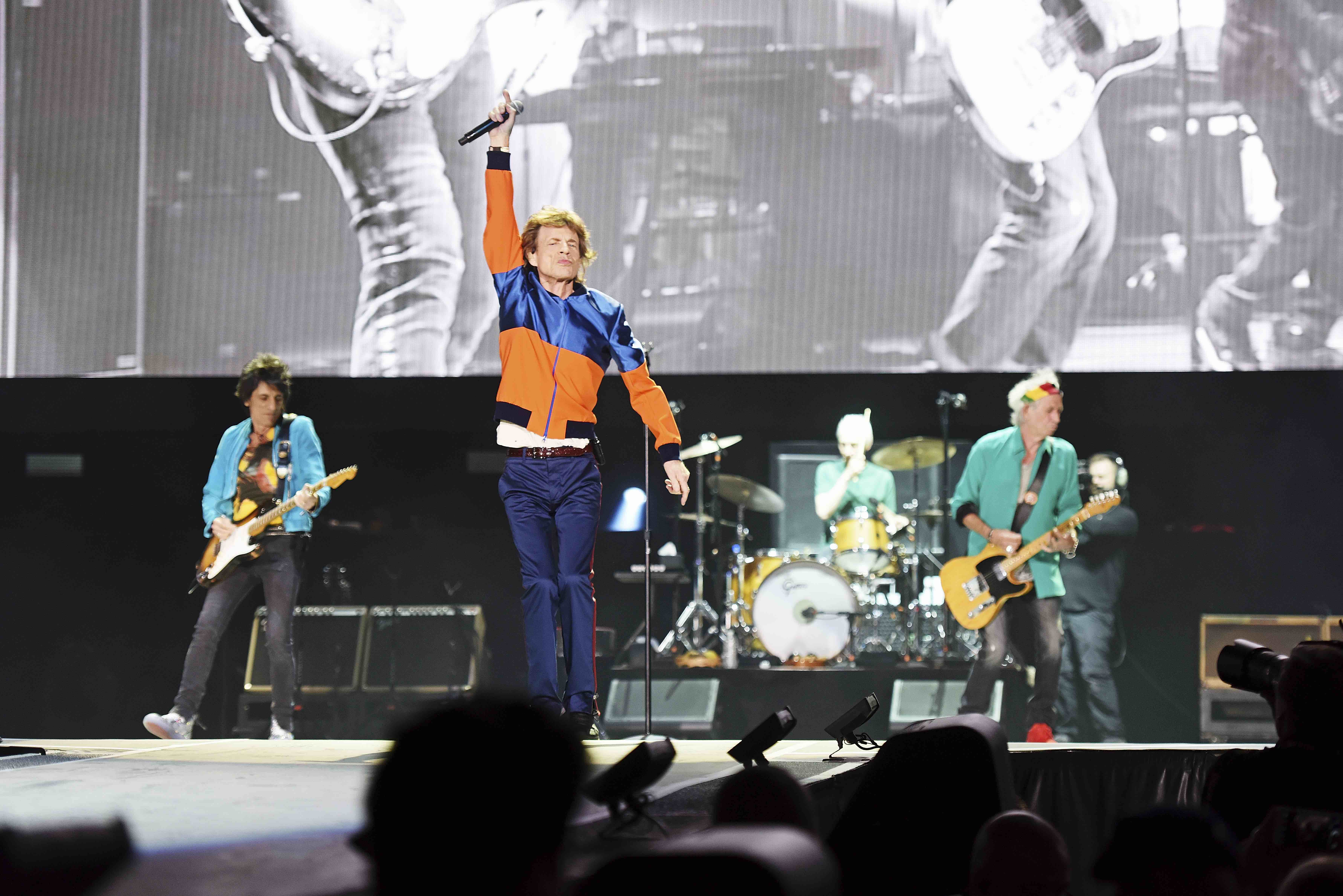 INDIO, CA - OCTOBER 07:  The Rolling Stones perform during day 1 of the Desert Trip weekend at The Empire Polo Club on Octobe