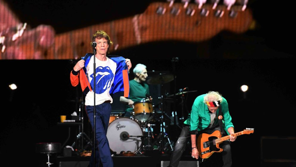 Mick Jagger (L) and Keith Richards (R) of the Rolling Stones perform during the Desert Trip music festival at Indio, Californ