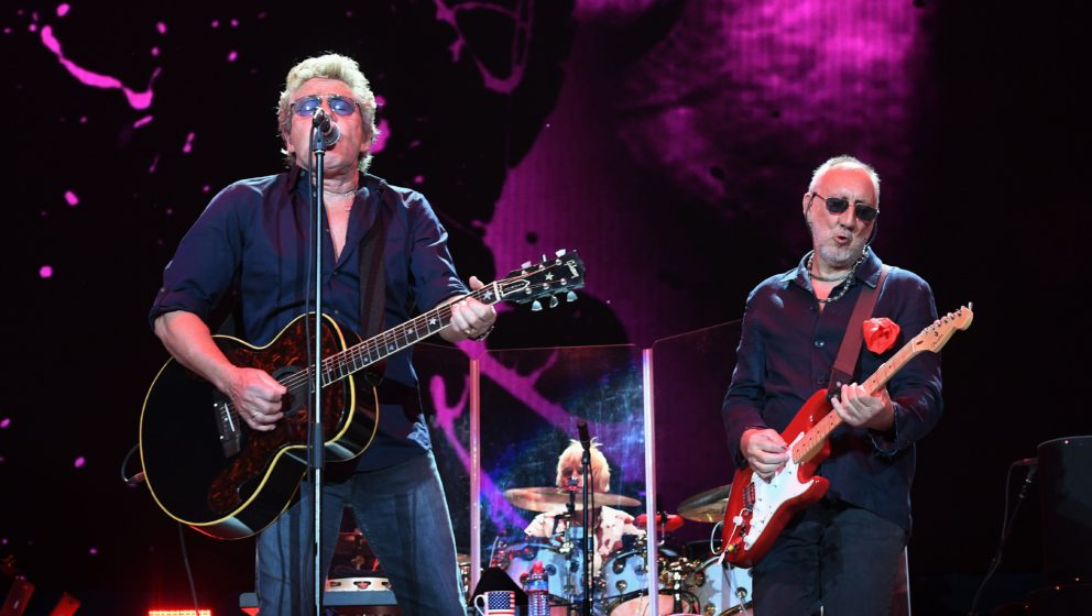 Roger Daltrey (L) and Pete Townshend perform with their band The Who during the third day of the Desert Trip music festival a