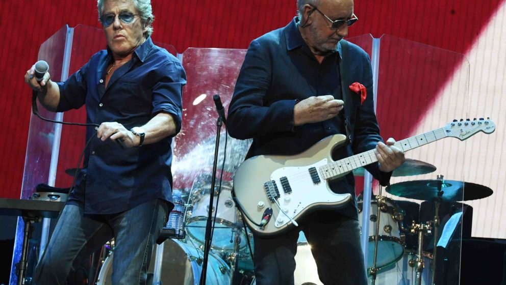 Pete Townshend (R) and Roger Daltrey perform with their band The Who during the third day of the Desert Trip music festival a