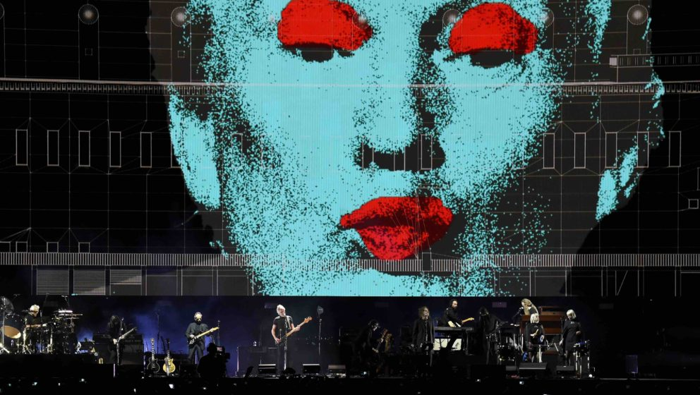 INDIO, CA - OCTOBER 09:  An illustration of Donald Trump appears on the screen during Roger Waters performance at Desert Trip