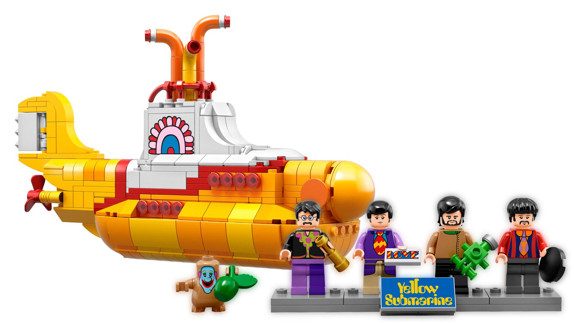 """Die Beatles und ihre """"Yellow Submarine"""" aus LEGO."""