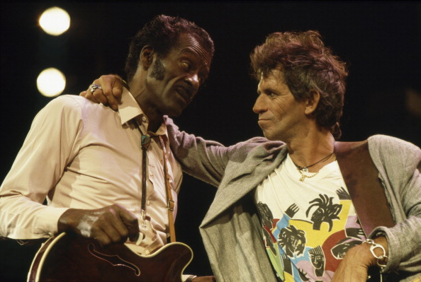 Chuck Berry with  Keith Richards of The Rolling Stones at The Fox Threatre  St Louis during filming of the documentary Hail H