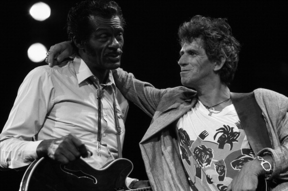 Chuck Berry with Keith Richards of The Rolling Stones at The Fox Threatre  St Louis during filming of the documentary Hail Ha