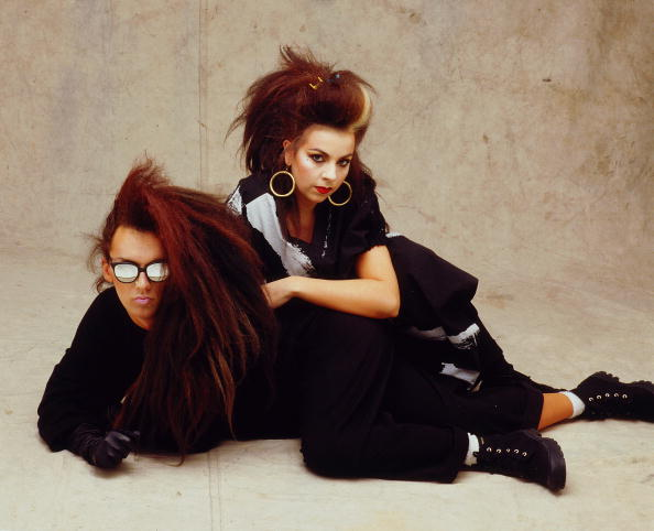 Pete Burns (L) poses for a studio portrait session c 1985 in London. (Photo by Mike Prior/Redferns)