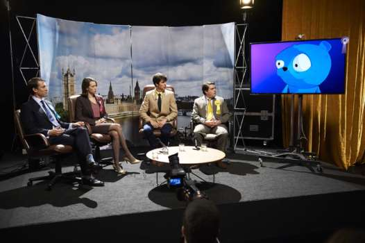 Black Mirror The Waldo Moment l-r: Liam Monroe (Tobias Menzies), Gwendolyn (Chloe Pirrie), Robert (Jack Monaghan) and Simon Finch (Louis Waymouth)