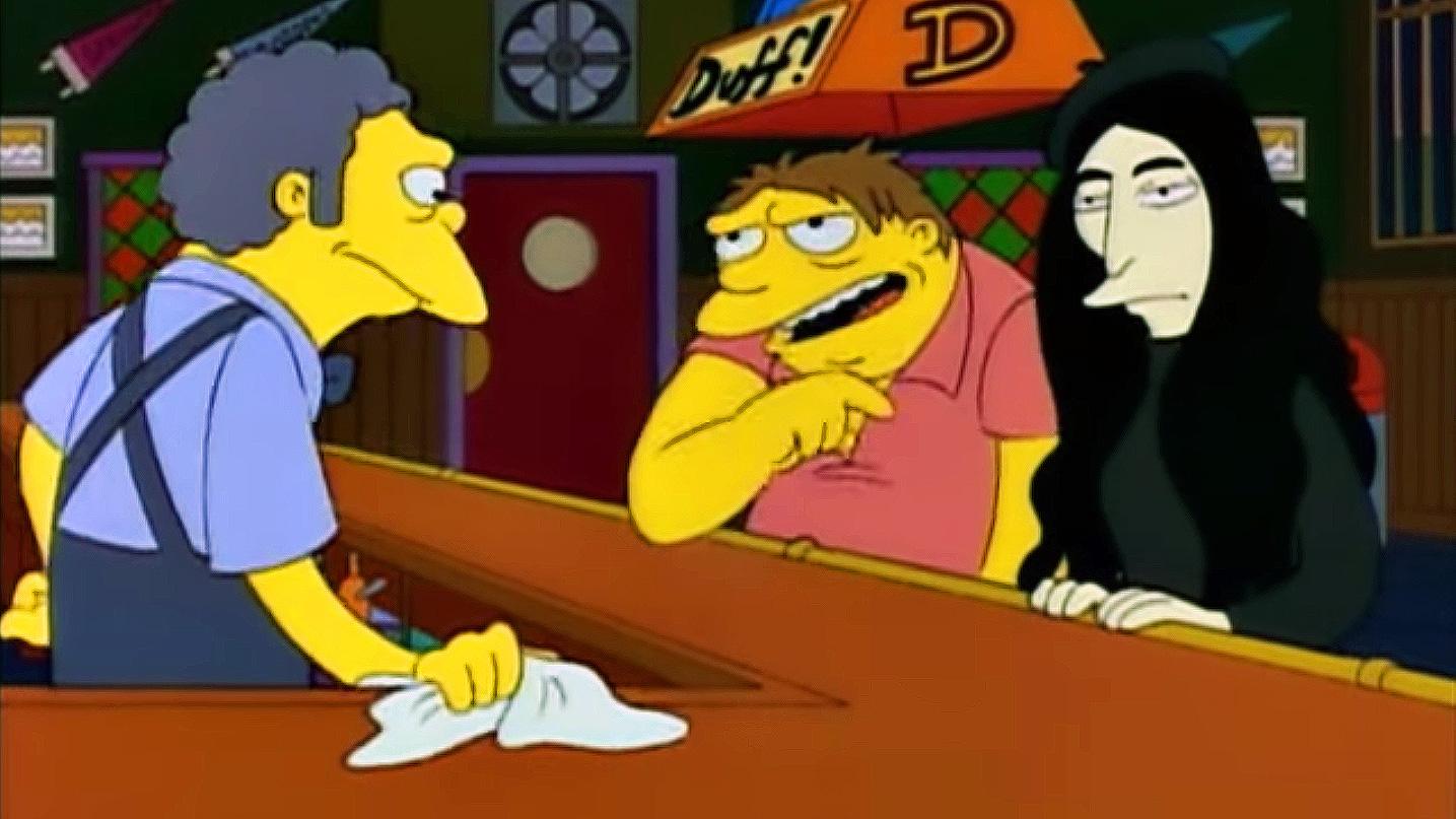 "Yoko Ono mit Barney und Moe aus ""Die Simpsons"""
