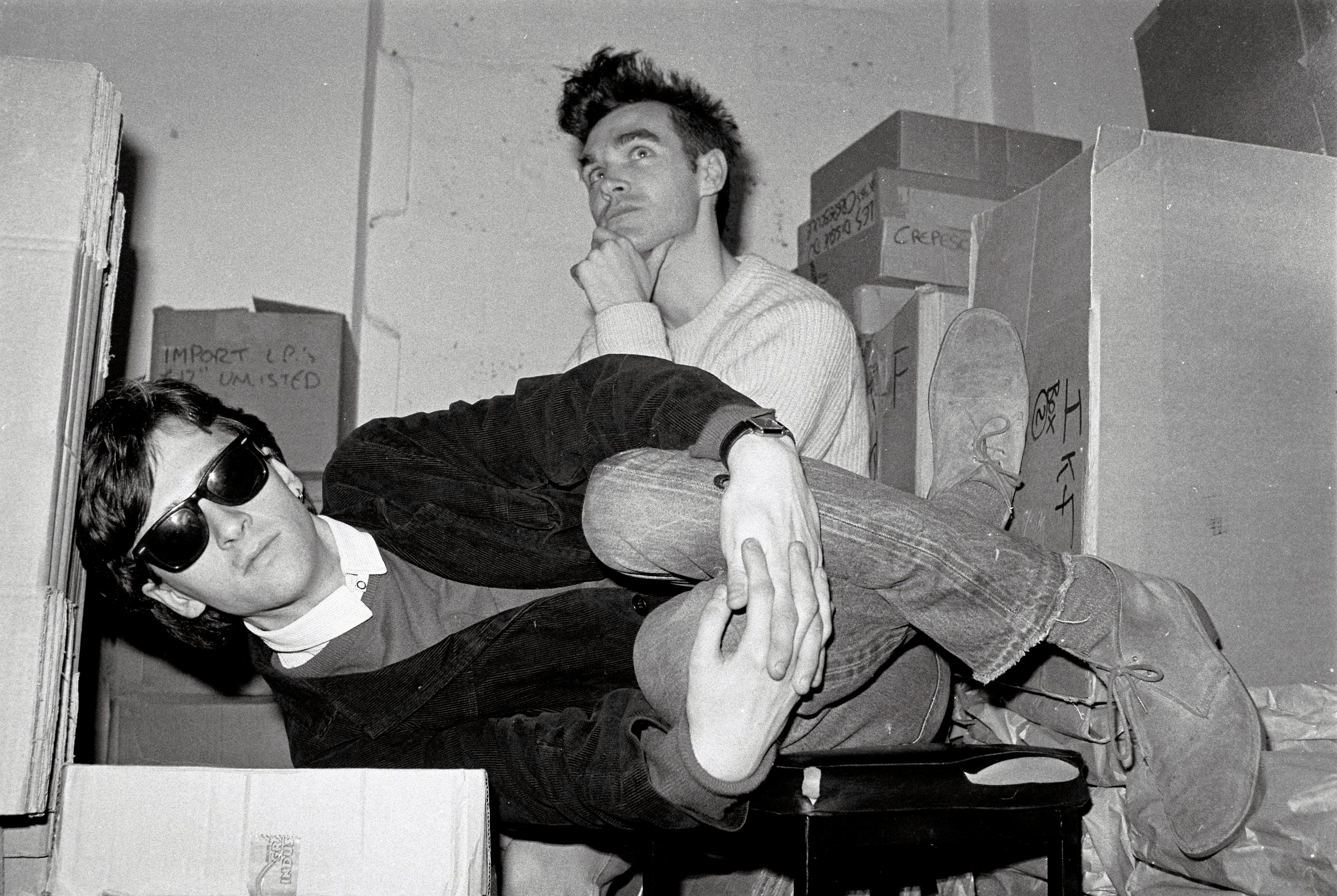LONDON - 1st JANUARY: Johnny Marr (left) and Morrissey from The Smiths pose together in the store room of Rough Trade records