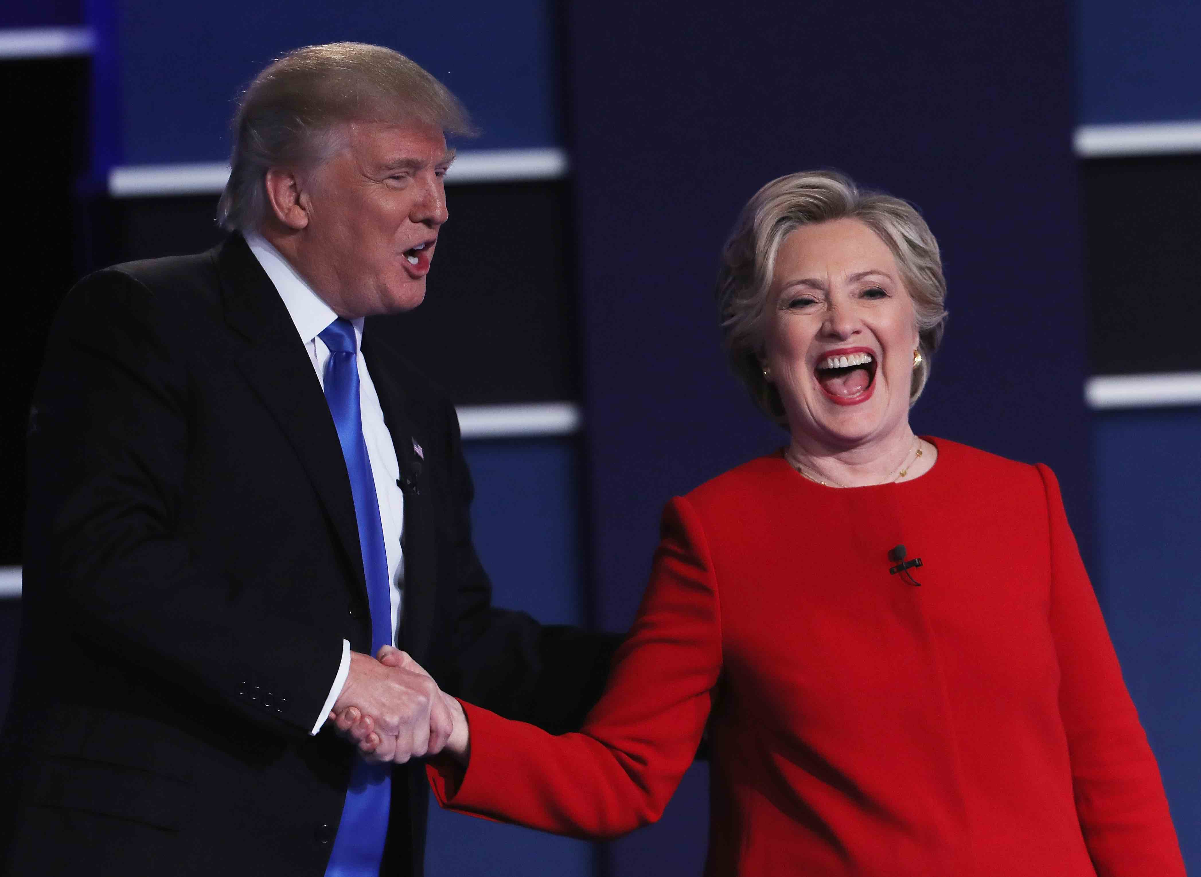 HEMPSTEAD, NY - SEPTEMBER 26:  (L-R) Republican presidential nominee Donald Trump and Democratic presidential nominee Hillary