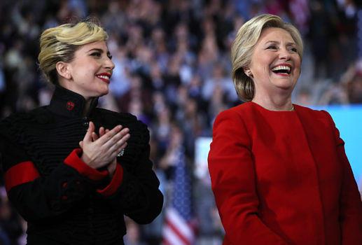 Lady Gaga mit Hillary Clinton