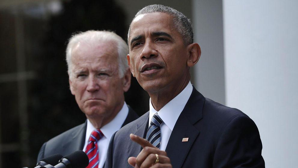 Präsident Barack Obama bei seiner Rede an die Nation. Im Hintergrund: Vize-Präsident Joseph Biden
