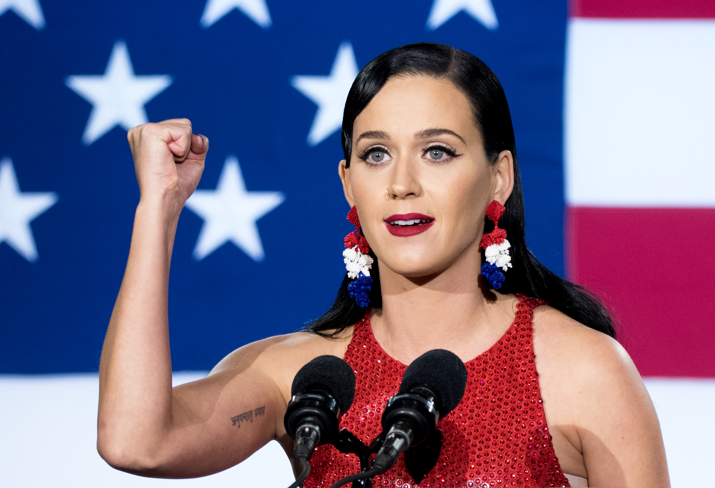 NEW YORK, NY - NOVEMBER 08:  Singer Katy Perry speaks at Democratic presidential nominee Hillary Clinton's election night par