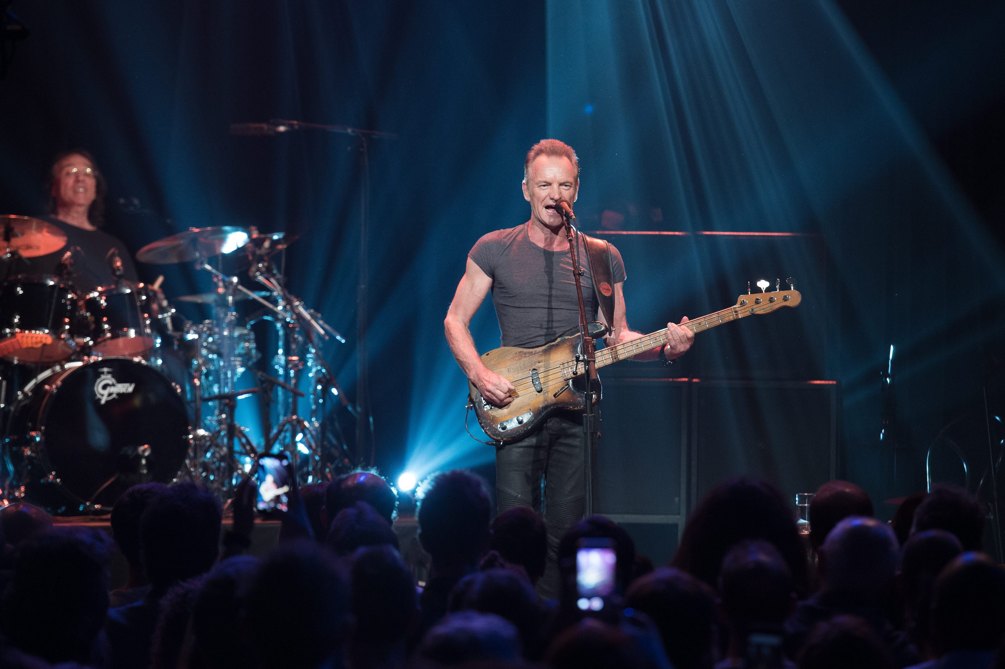 epa05629052 A handout image provided by the Bataclan managment shows British musician Sting (C) during his concert at the new