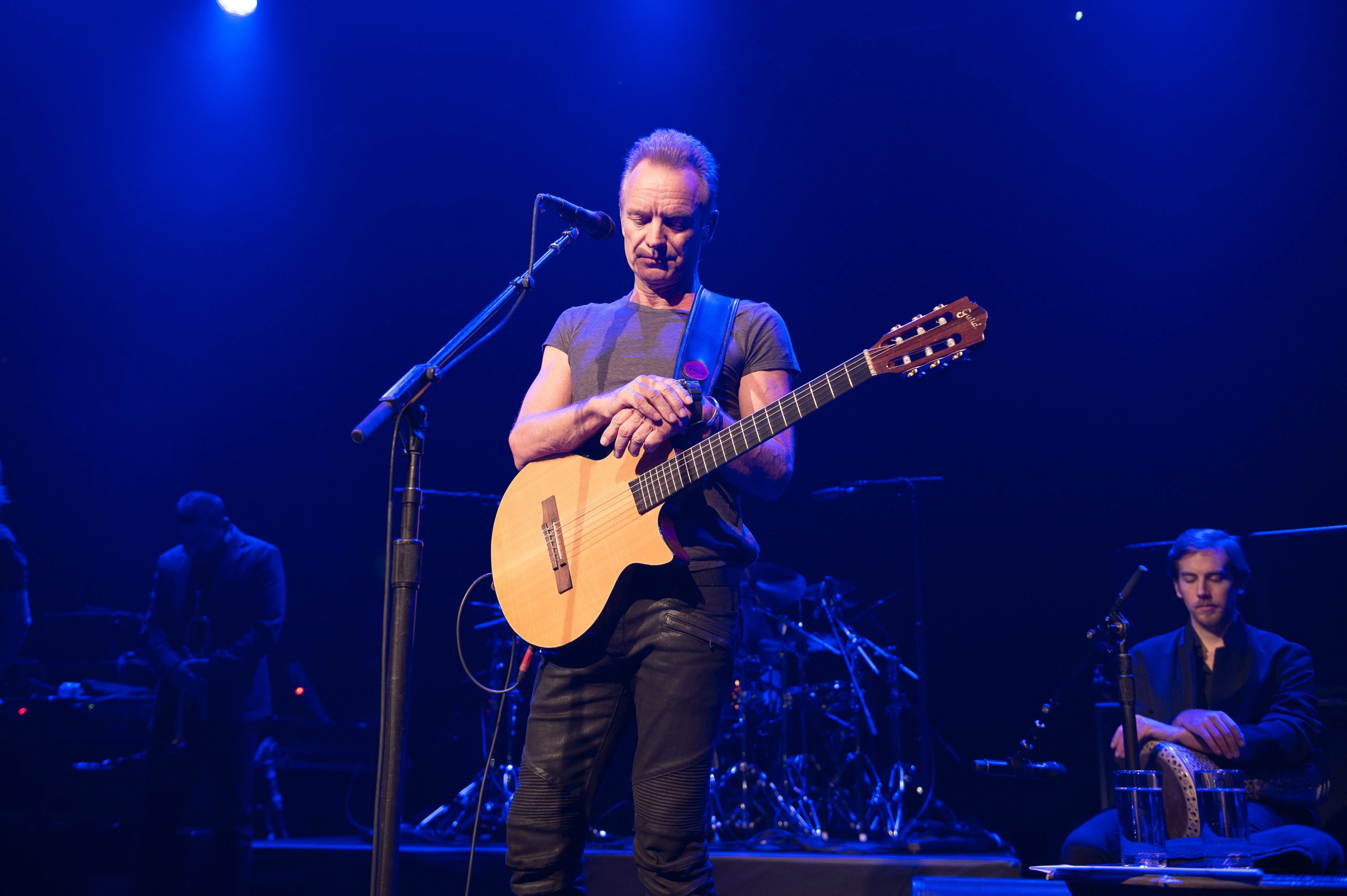 epa05629050 A handout image provided by the Bataclan managment shows British musician Sting (C) during his concert at the new