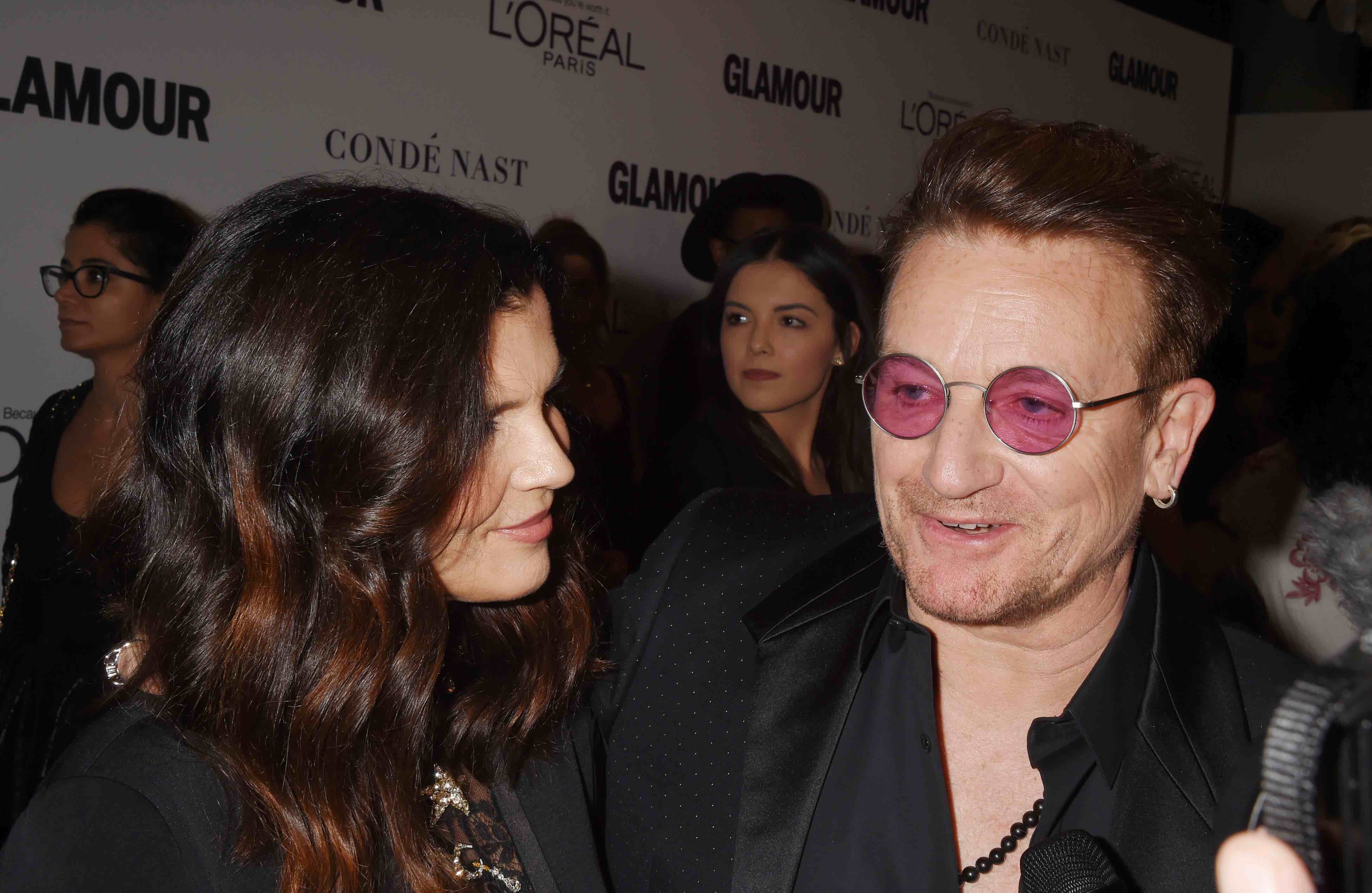 LOS ANGELES, CA - NOVEMBER 14: Activist/businesswoman Alison Hewson; Bono arrives at the Glamour Women Of The Year 2016 at Ne