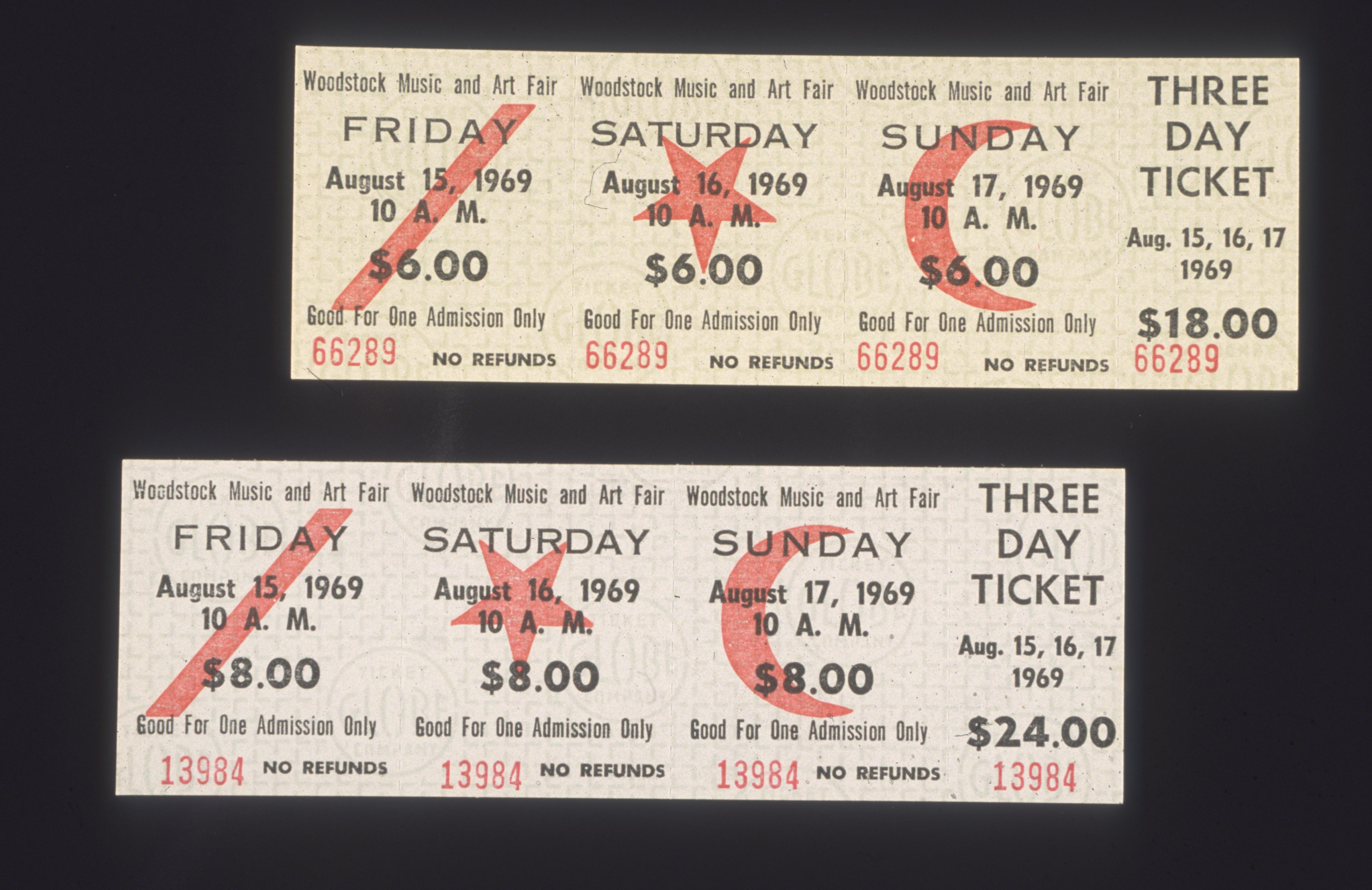 Die legendären Eintrittskarten für Woodstock im jahr 1969