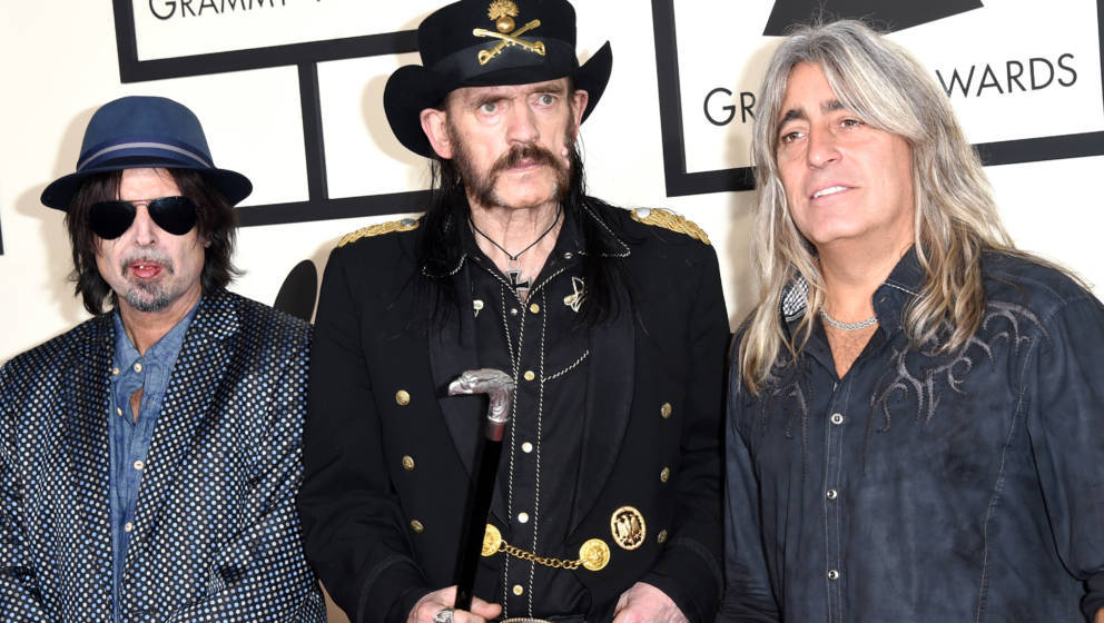 LOS ANGELES, CA - FEBRUARY 08:  (L-R) Musicians Phil Campbell, Lemmy and Mikkey Dee of Motorhead attend The 57th Annual GRAMM