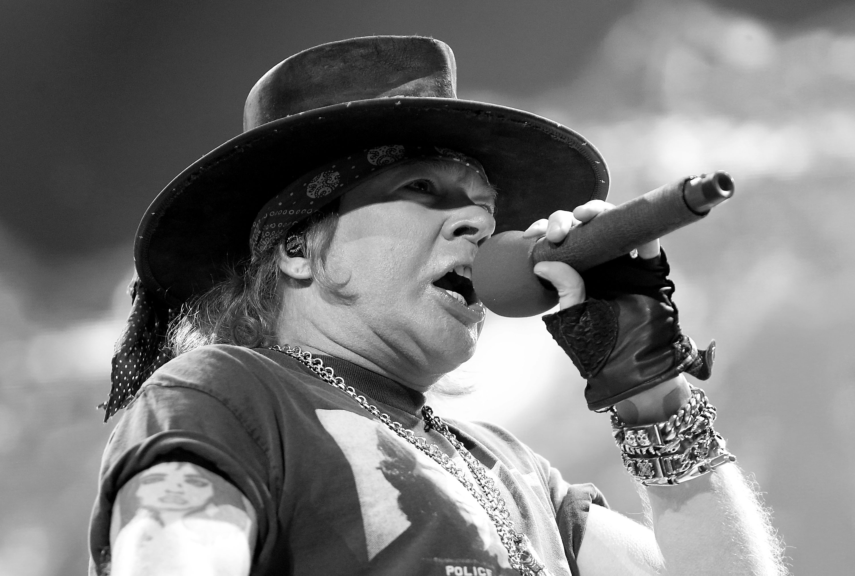 WASHINGTON, DC - SEPTEMBER 17:  (EDITORS NOTE: This image was converted to black and white using digital filters) Axl Rose of