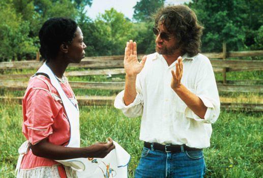 """Whoopi Goldberg mit Spielberg am Set von """"Die Farbe Lila"""""""