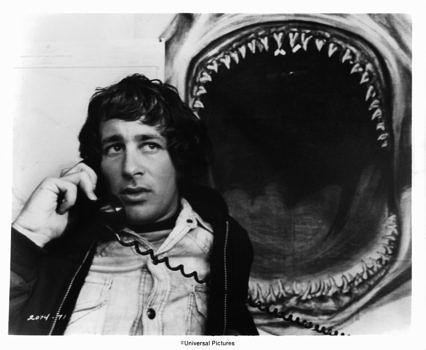Steven Spielberg on set of the film 'Jaws', 1975. (Photo by Universal/Getty Images)