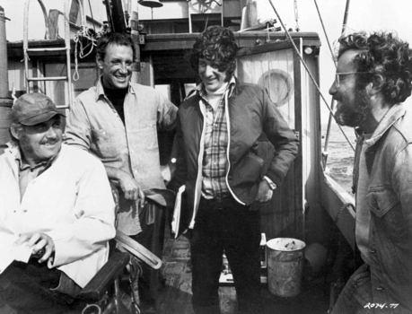 """Spielberg und sein """"Jaws""""-Ensemble: Robert Shaw, Roy Scheider und Richard Dreyfuss"""