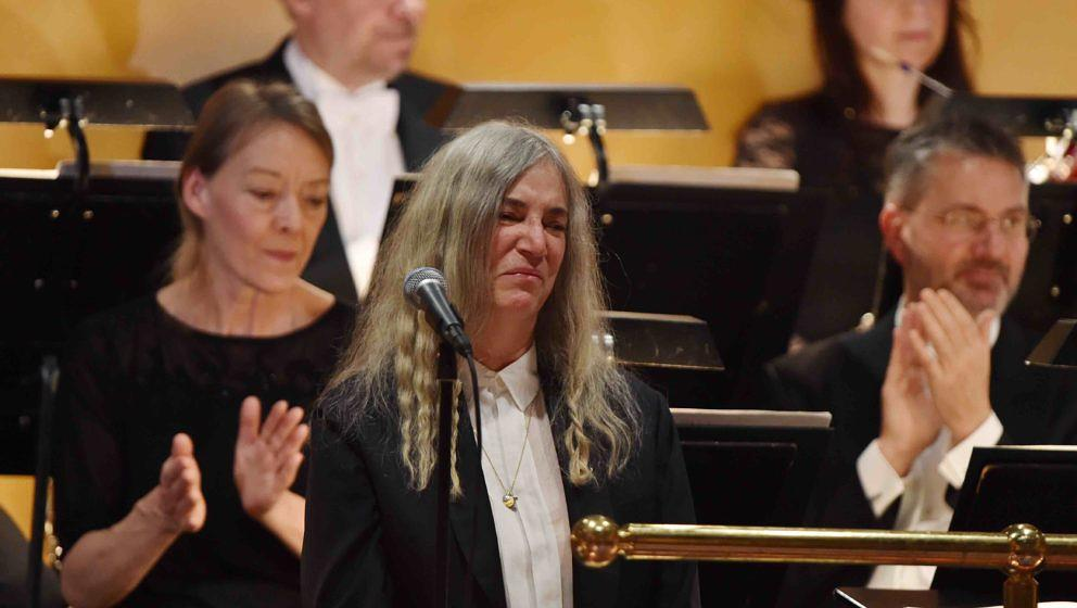 STOCKHOLM, SWEDEN - DECEMBER 10:  Patti Smith performs during the Nobel Prize Awards Ceremony at Concert Hall on December 10,