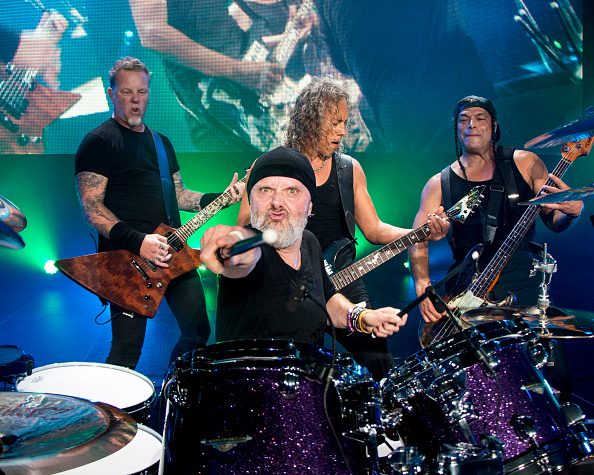 HATO REY, PUERTO RICO - OCTOBER 26: James Hetfield, Lars Ulrich, Kirk Hammett, and Robert Trujillo of Metallica perform at Co