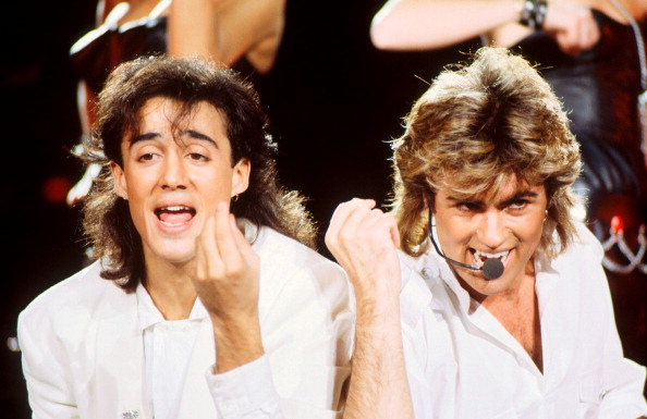 Andrew Ridgeley and George Michael of Wham! perform on stage at Sydney Entertainment Centre, Sydney, Australia, 27th January