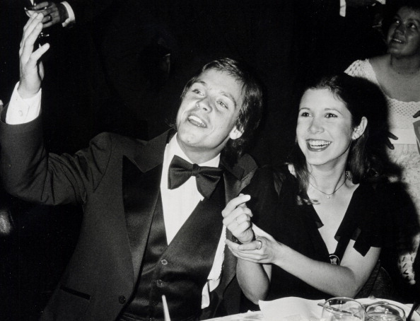 Actor Mark Hamill and actress Carrie Fisher attending '10th Anniversary Gala for American Film Institute' on November 17, 197