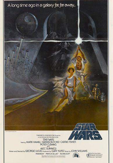 A poster for George Lucas' 1977 fantasy film 'Star Wars' starring Mark Hamill and Carrie Fisher. (Photo by Movie Poster Image