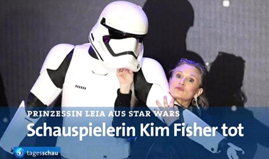 Das Netz lacht über einen Fehler der Tagesschau, die Kim Fisher statt Carrie Fisher für tot erklärte
