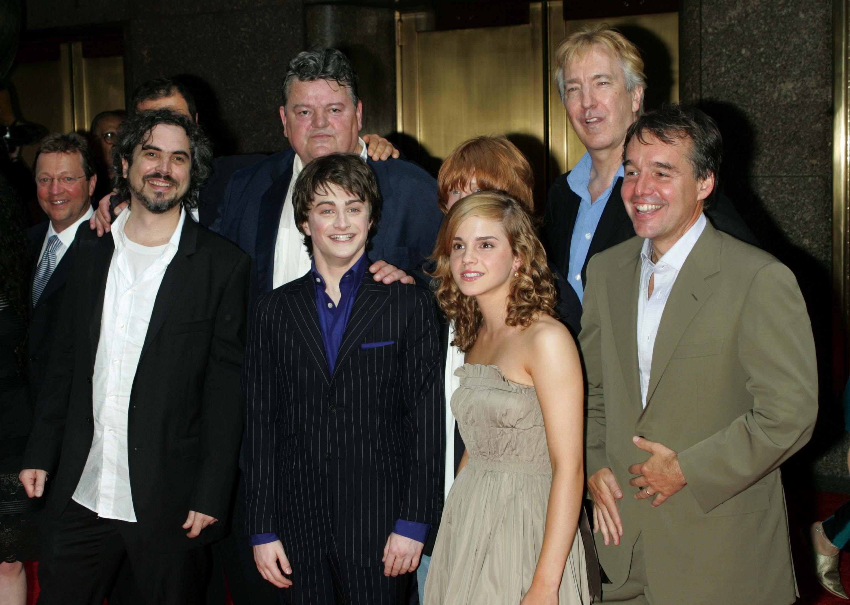 """Der """"Harry Potter""""-Cast - auch mit Robbie Coltrane (Mitte, hinten)"""