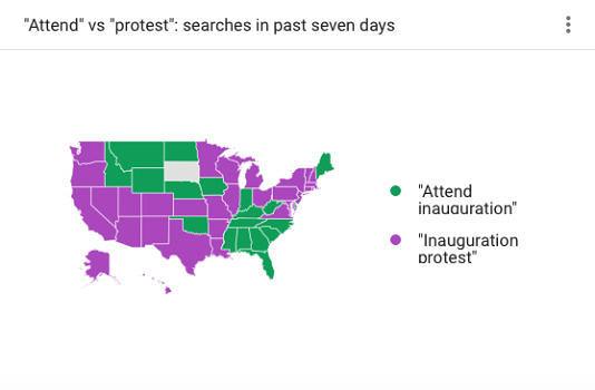 Ein Blick in Google-Trends beweist: Proteste gegen die Amtseinführung von Donald Trump könnten mehr Aufmerksamkeit bekommen, als die Inauguration.