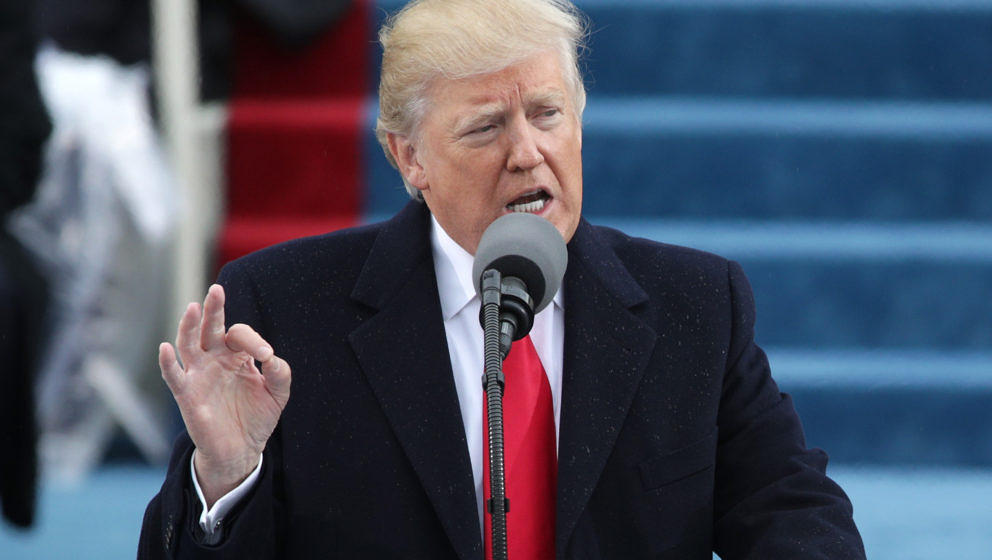 WASHINGTON, DC - JANUARY 20:  President Donald Trump delivers his inaugural address on the West Front of the U.S. Capitol on