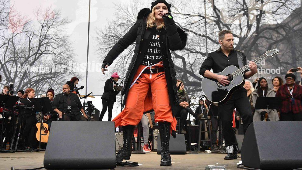 WASHINGTON, DC - JANUARY 21:  Madonna performs onstage during the Women's March on Washington on January 21, 2017 in Washingt