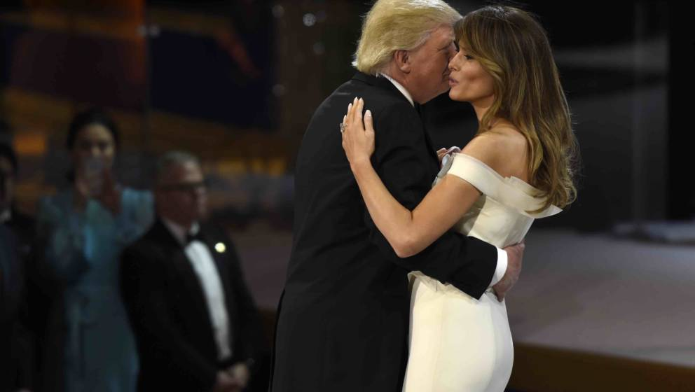 US President Donald Trump and First Lady Melania Trump dance during the Salute to Our Armed Services Inaugural Ball at the Na