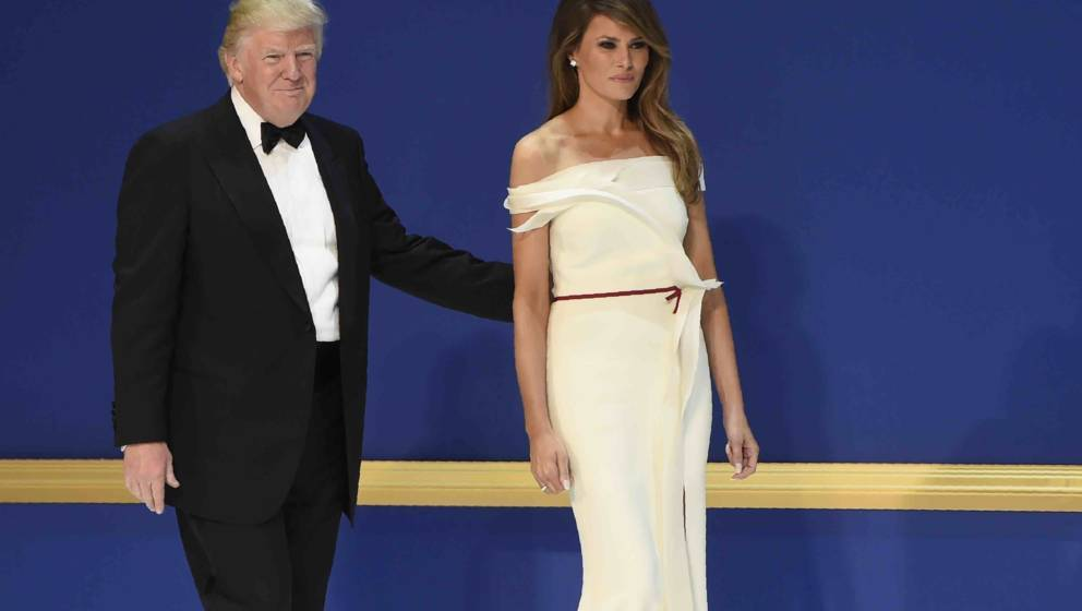 US President Donald Trump and First Lady Melania Trump during the Salute to Our Armed Services Inaugural Ball at the National