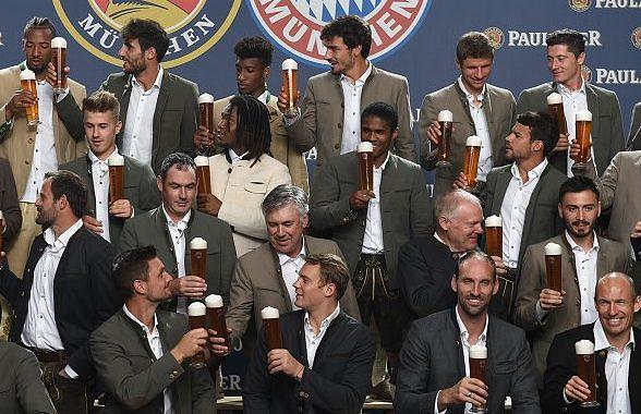 Team members of the German first division Bundesliga football club FC Bayern Munich pose during a promotional photocall of th