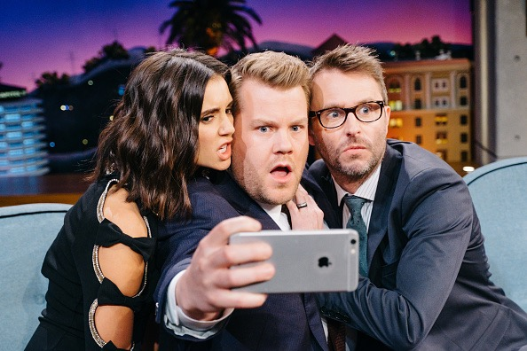 LOS ANGELES - JANUARY 19: Nina Dobrev and Chris Hardwick chat with James Corden during 'The Late Late Show with James Corden,