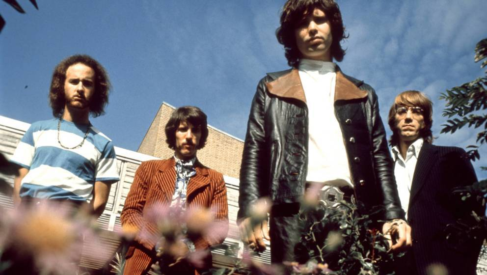 GERMANY - JANUARY 01: American rock group The Doors posed in Germany in 1968. Left to right: Robbie Krieger, John Densmore, J