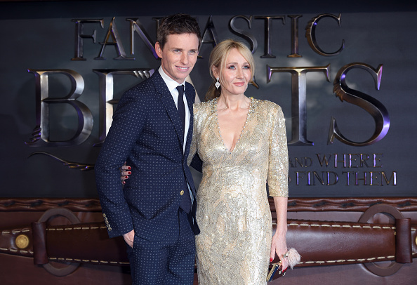 LONDON, ENGLAND - NOVEMBER 15:  Eddie Redmayne and J. K. Rowling attends the European premiere of 'Fantastic Beasts And Where